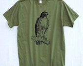 Men's Pine Green Bird Shirt with Red-tailed Hawk