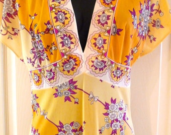 Emilio Pucci Nightgown Vintage Floral Slip Dress Butterfly Sleeve 1960s Formfit Rogers Small Designer Gold Purple Flowers Feminine Girly