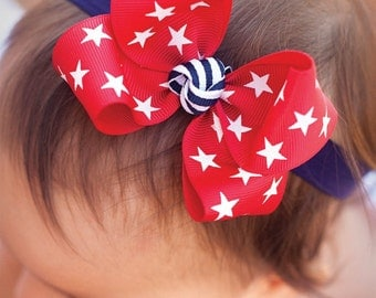 Baby Bow, 4th of July Red Stars Medium Loopy, 4th of July Boutique Bow, Navy Bow, Red Bow
