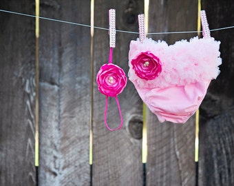 Gorgeous Pink Diaper Cover and Pink Flower Headband Set - Baby Girl Toddler Bloomer Headband Set - Great Photo Prop