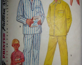 Simplicity 1434 Teen Boy Pajamas Two Length 1950s Pattern Chest 32