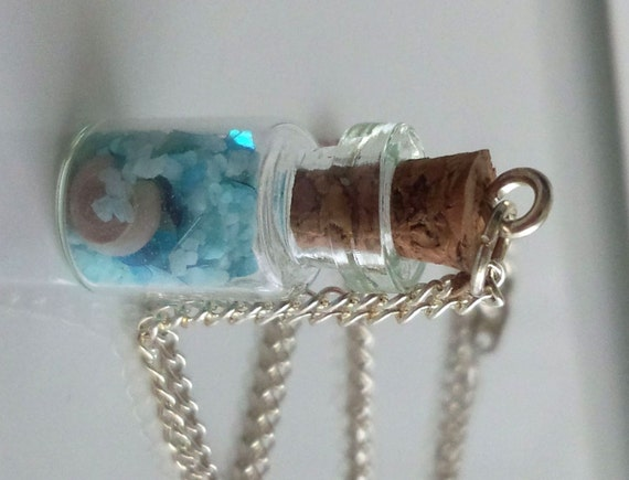 Miniature Glass Bottle Necklace - Tears of Undine in the bottle - Tiny glass bottle pendant - Free shipping