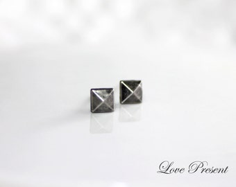 Rock N Roll and Punk Pyramid Stud earrings Unisex Chic Geometric Post - Choose your color