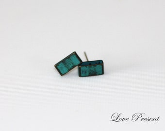 Rock N Roll and Punk BAR earrings stud style - Color Turquoise Teal Blue Patina Verdigris