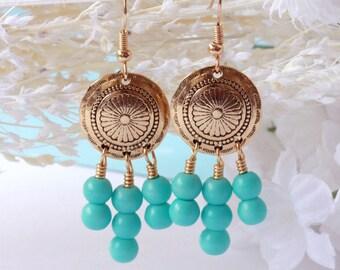 Turquoise Concho Earrings, Chandelier Earrings, Drop Earrings, Dangle Earrings, December Birthday, Bridal Jewelry, Southwest, Mother's Day