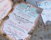 Tropical Destination Wedding Invitation. Sea shells wedding invitations. Starfish wedding. Beach destination wedding invitations.