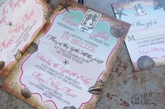 Destination Wedding Invitations When To Send: Tropical Destination Wedding Invitation. Sea Shells Wedding