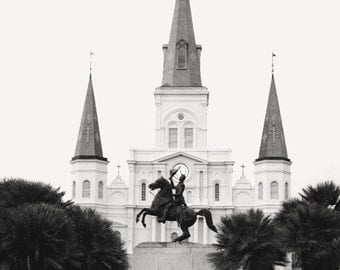 New Orleans Photography, St. Louis Cathedral, Jackson Square, Big Easy, travel photo, black and white, print, NOLA Photo, New Orleans Art