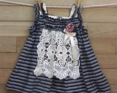 Lacy Cotton Knit Jumper Dress 2T OOAK Upcycled Little Girl
