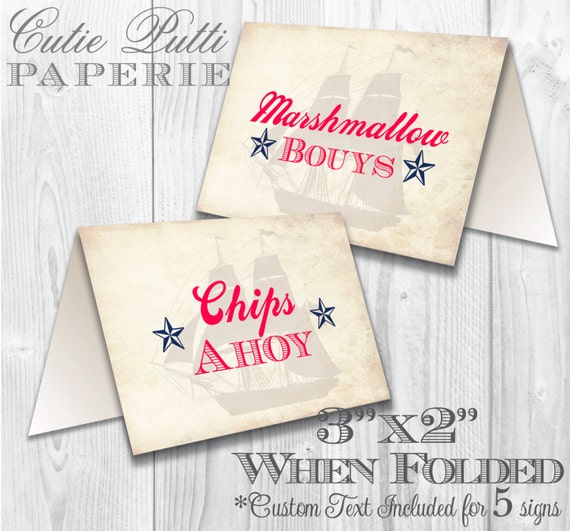 Nautical Party, Sailor Party - PRINTABLE TENT SIGNS - Cutie Putti Paperie