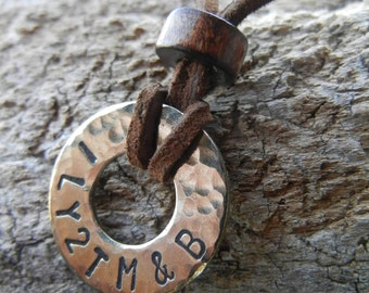 Rustic Leather & Steel Personalized Unisex Necklace