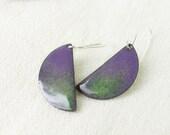 Enamel earrings - dangle purple earrings - artisan jewelry by Alery