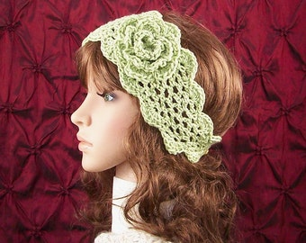 Crochet trellis headband, boho headwrap - soft green color - Winter Fashion Accessories Gift for her Sandy Coastal Designs - ready to ship