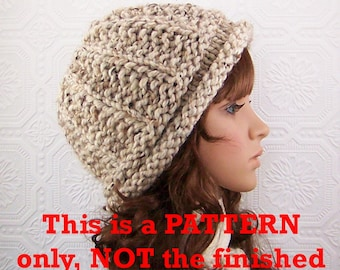 Instant download knit hat pattern - Roll Brim Beanie pdf knitting pattern - DIY Winter Accessories by Sandy Coastal Designs
