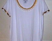 White T-Shirt with Gold Beaded Trim Womens Size XL Embelished OOAK
