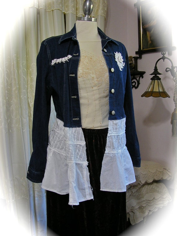 Shabby Denim Jacket Boho Tattered Chic White By
