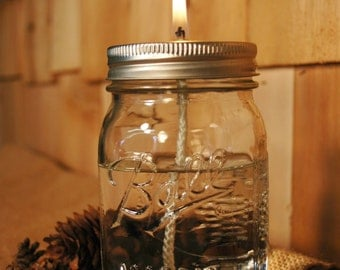 Jar with lid and glass wick insert and wick Mason jar oil candle