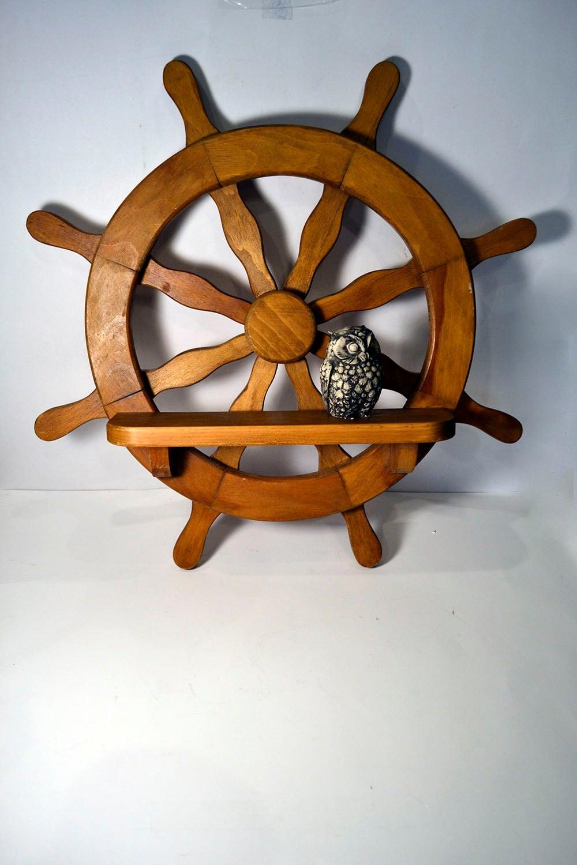 Nautical Ship Wheel Shelf Natural Wooden Wall Mount Sailing