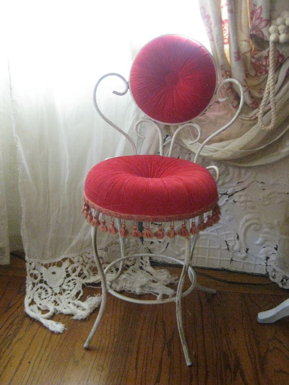 Fabulous Vintage French Tufted Cushion Tasseled Boudoir Vanity