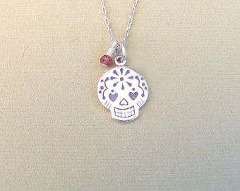 Sugar Skull & Garnet Necklace - Sterling Silver Day of the Dead pendant charm jewelry - Gift