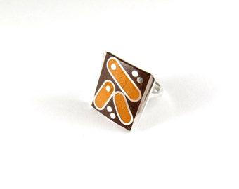 Sterling Silver Ring, Geometric, Orange, Chocolate, OOAK, Contemporary, Modern, Mid Century