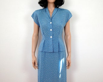 80s Vintage Blue Printed Geo Secretary Skirt Top Outfit -S