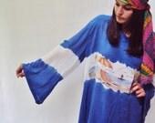 OMBRE Rayon Beachy Tent Dress Royal Blue Draped Batik Boho Hippie Caftan Dress Beach Scene Bell Sleeve