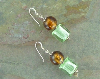 SALE: Venetian Glass BROWN & GREEN Silver Foil Lampwork w/ Sterling Silver Earrings