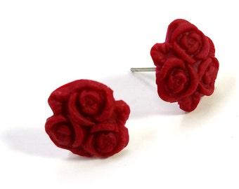 Cute Red Rose Trio Post Earrings