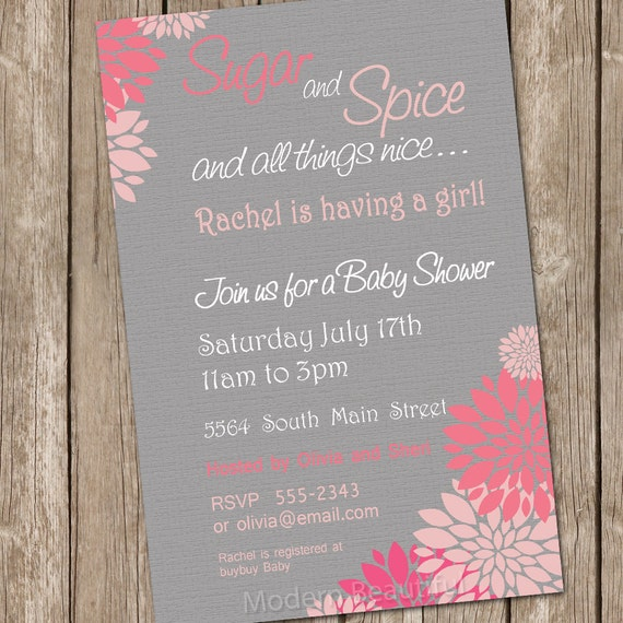 flower sugar and spice girl baby shower invitation pink grey