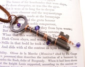 Copper Wire Wrapped Antique Skeleton Key with Purple Crystal, Skeleton Key Necklace, Vintage Skeleton Key