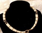 Vintage Stannard Choker, Gold n White enameled rare necklace, Elegant 1970s Jewellery.