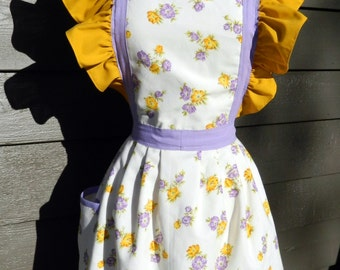 Up-Cycled Apron - Lavender and Gold Floral with Ruffles
