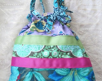 Drawstring Bag Hobo Purse Bright Green, Blue, Magenta, Purple