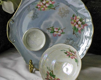 Royal Ainsley Floral Lusterware Snack Plate and Teacup Sets With Pansies and Dogwood - Set of 4 Plus 1 Extra