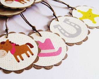 8 COWGIRL Scalloped Circle Tags - Set of 8 - 2 Horse with Pink Bandana, 2 Horseshoe, 2 Sheriff Badge, 2 Cowboy Pink Hat