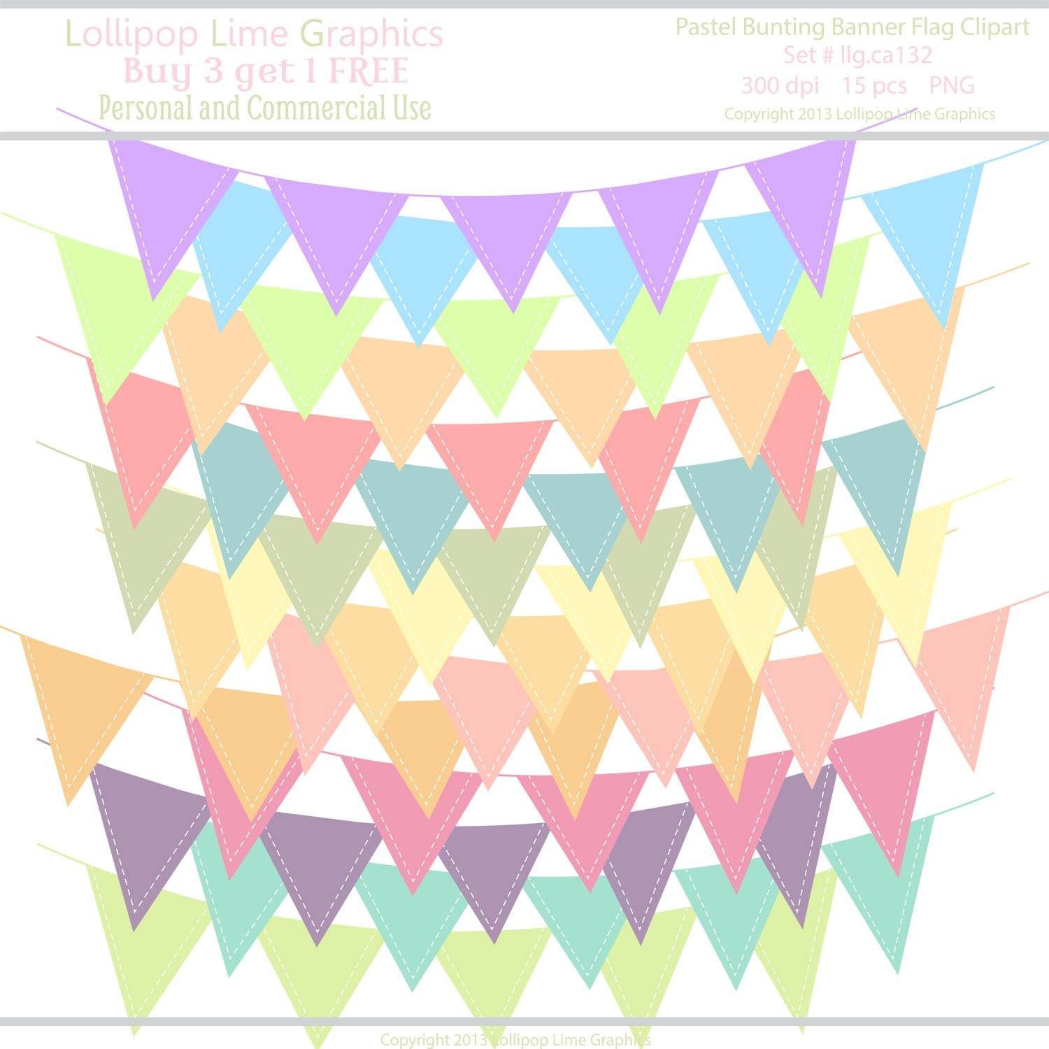 Items similar to Pastel Bunting Banner Flag Clipart w ...