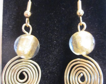 Gold Spiral Wire Wrapped Earrings
