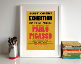 Picasso Poster Print: Modern Art, 20th Century, Exhibition Announcement Poster