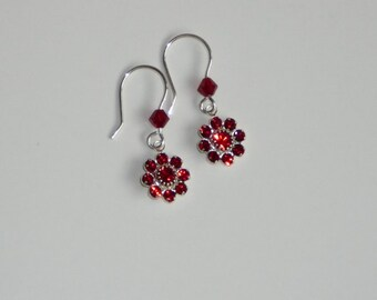 Sterling Silver earrings with Siam red Swarovski crystal - lightweight dangle earrings - Free shipping to CANADA & USA