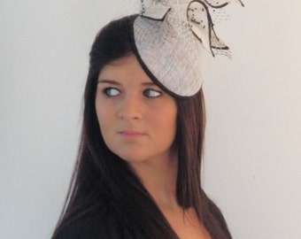 Dutch design black and white hat with ton sur ton handemade chalices on aliceband