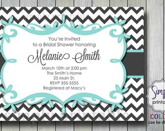 Aqua Chevron Bridal Shower Invitation