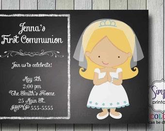 First Communion Invitation on Chalkboard
