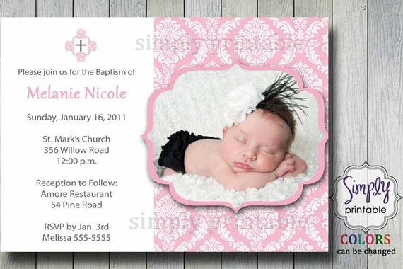 Christening/Baptism Damask Invitation wth Photo