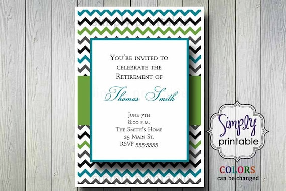 Chevron Retirement Party Invitation Green & Blue