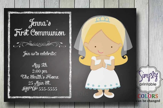 First Communion Invitation on Chalkboard