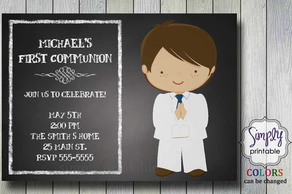 Boys First Communion Invitation on Chalkboard