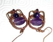 Amethyst earrings, Copper earrings, oxidised, patinated, wire wrapped, wire work, amethyst, purple agate, swarovski, crystal, gemstone