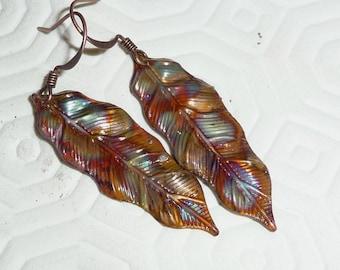 Copper earrings, leaf, fired, rainbow, multicolor, boho, bohemian, hippie, rustic, blue, purple, red, green,