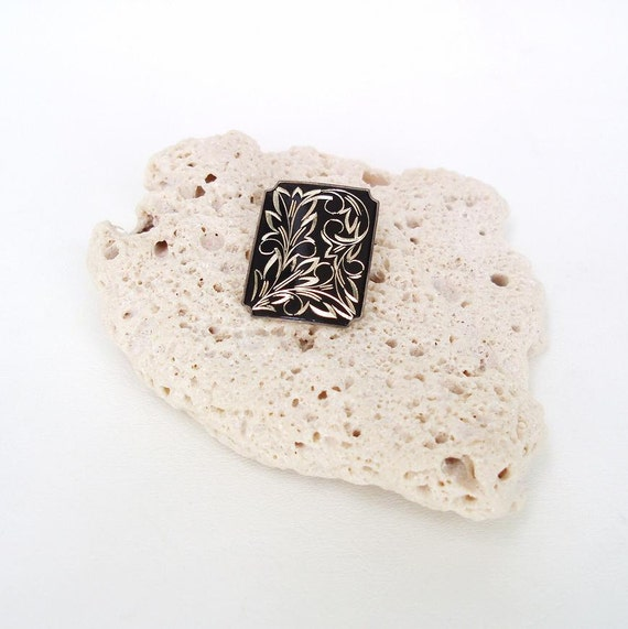 Black Silver Brooch, Sterling Silver Pin, Geometric Design, Damascene Brooch